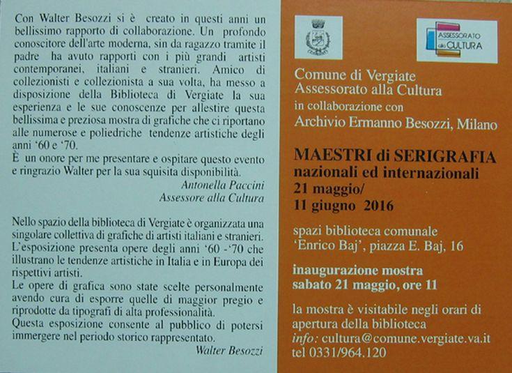 2016 Cartolina invito mostra di grafica artisti italiani e stranieri, Vergiate
