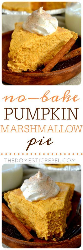 This No-Bake Pumpkin Marshmallow Pie is such an easy recipe! Fluffy, packed with pumpkin spice and so simple to whip up. Great for fall weather and holidays!