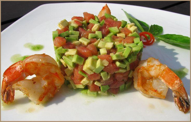Рецепты салата с креветками авокадо и красной икрой