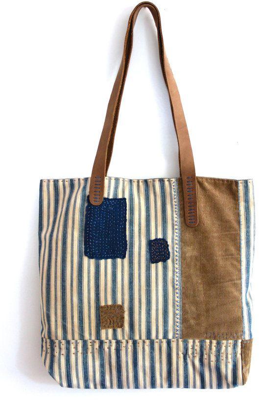 Vintage Handmade Ticking Stripe Hobo Tote Bag  by rizomdesigns, $220.00