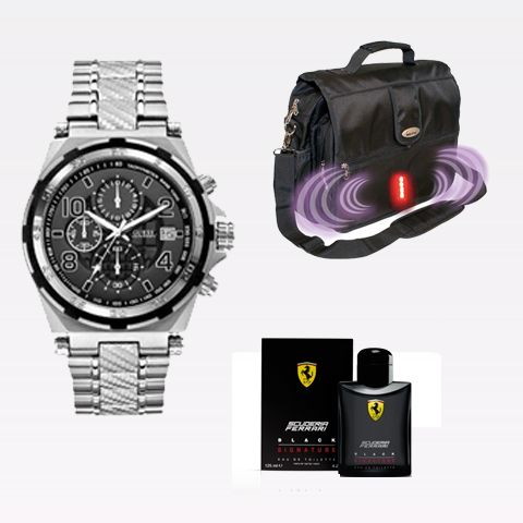 Guess W0243G1 Watch + ISafe Laptop Bag + Ferrari Black Signature Cologne 125ml