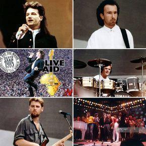 13.07.1985 Live Aid: Wembley Stadium - Londres, Inglaterra. #U2 #Bono #TheEdge #AdamClayton #LarryMullenJr #LiveAid