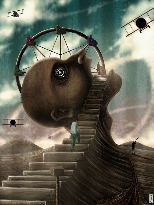 Surreal Illustrations by Jeffrey Smith, head, planes, flyvemaskiner, stairway to heaven, stair, clouds, flying, fantasy, art, imagination, gloomy