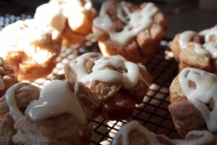 Monkey bread muffins with cream cheese glaze, made with homemade ...