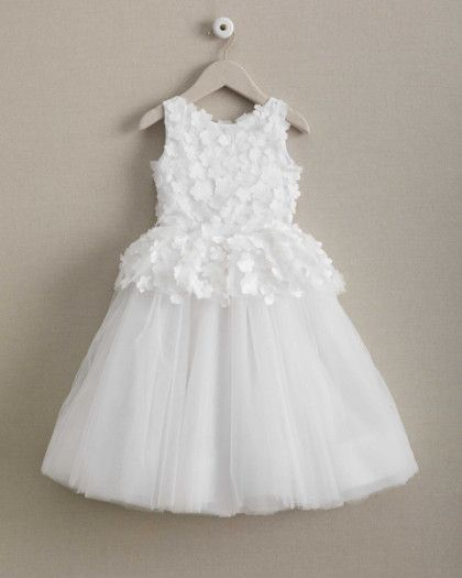 girls isabel garreton® fairytale flowers dress - Layered with whispering tulle and a flouncy pettiskirt, this dress will have a girl dancing on air. Delicate fabric flowers cover the bodice and peplum, completing the enchanting look. Dress buttons up the back and secures with ribbon ties.