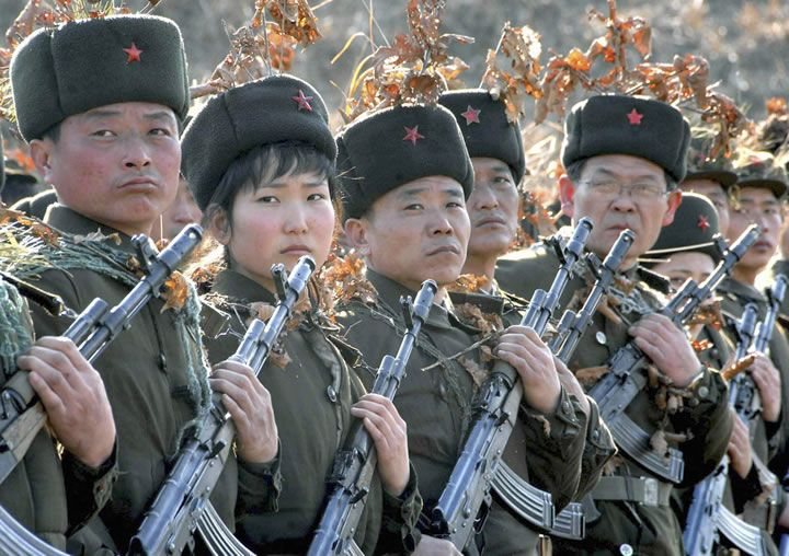 North Korean Army with 5.45x39mm AK-74 type rifles.