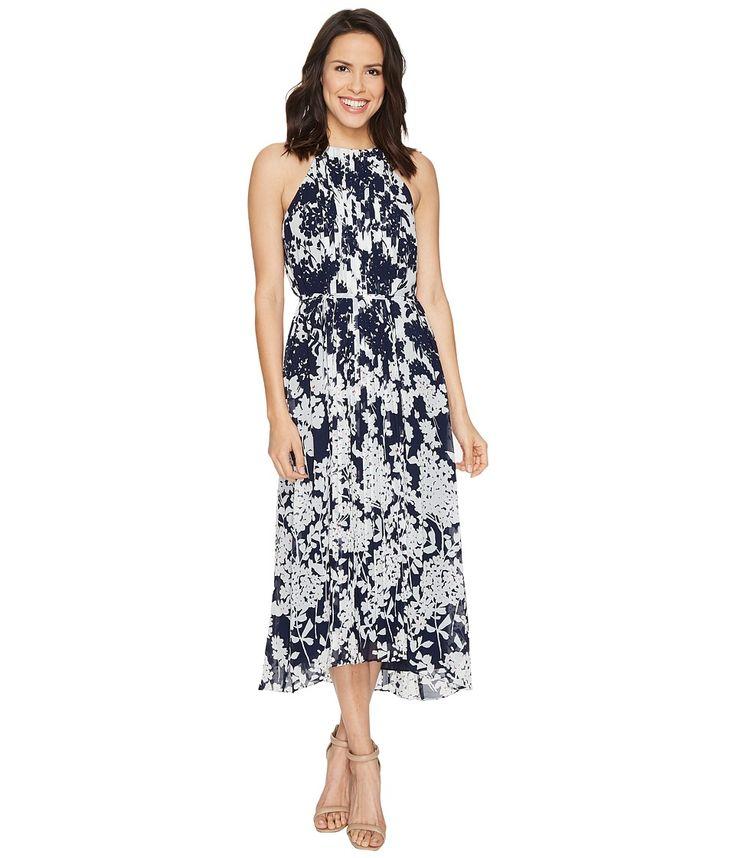Donna Morgan – Chiffon Pleated Midi Dress (Marine Navy/Whitecap Grey Multi) Women's Dress - Best Price