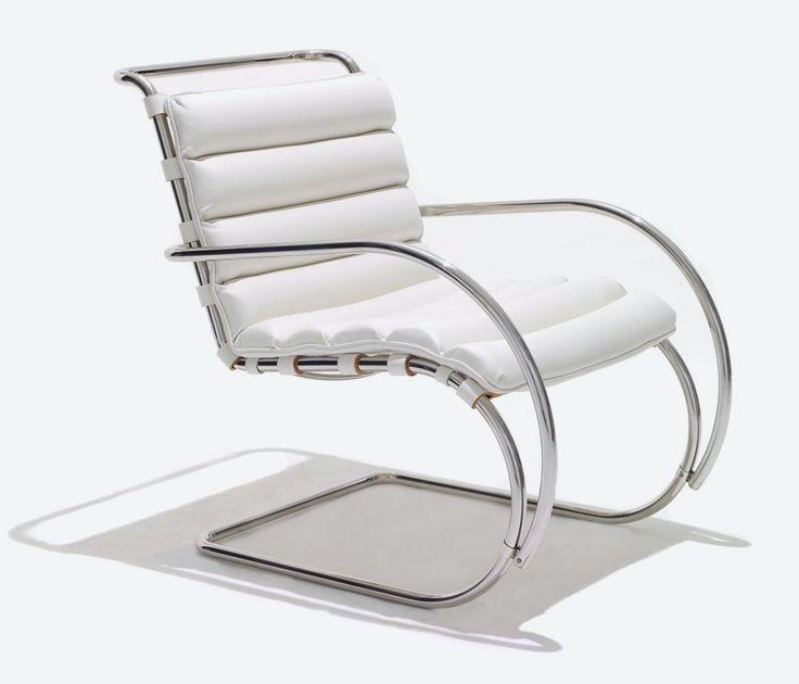 Cadeira MR, Ludwig Mies van der Rohe, 1927.  Inspirado pelas linhas de roqueiros de ferro tubulares projetados na Europa durante o século 19, Mies incorporou um material novo e uma nova tecnologia no uso do princípio de cantilever.