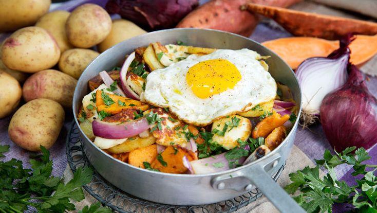 Vegetarisk pyttipanna med halloumi recept