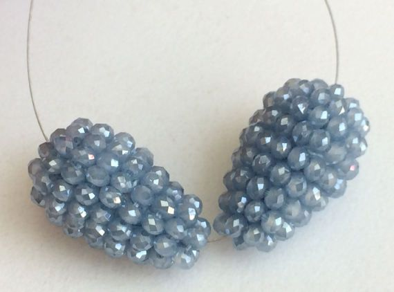 Mystic Blue Glass Drops 2 Pcs Matched Pair by gemsforjewels