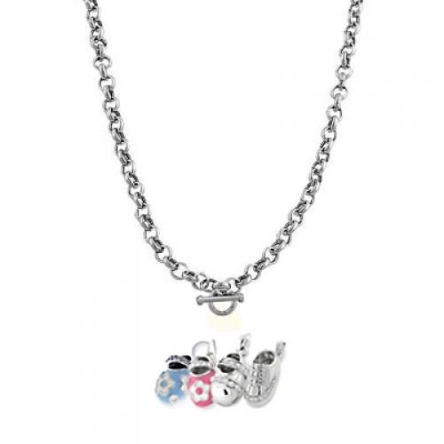 Sterling Silver Flat Rolo Chain 60 Gauge Toggle Charm Necklace 16in 18in