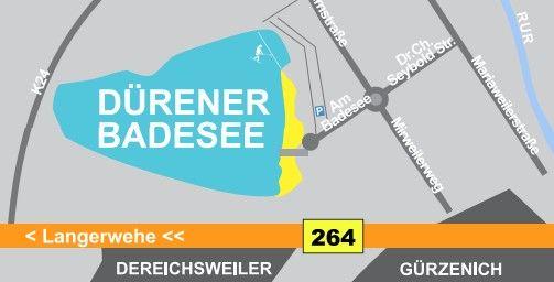 Dürener Badesee  600 Meter langer Sandstrand und einer neuen Wakeboard- und Wasserskianlage 9 bis 21 Uhr vom 15 Mai bis 15. September. 3,50 Euro Ermäßigt 2,50 Euro