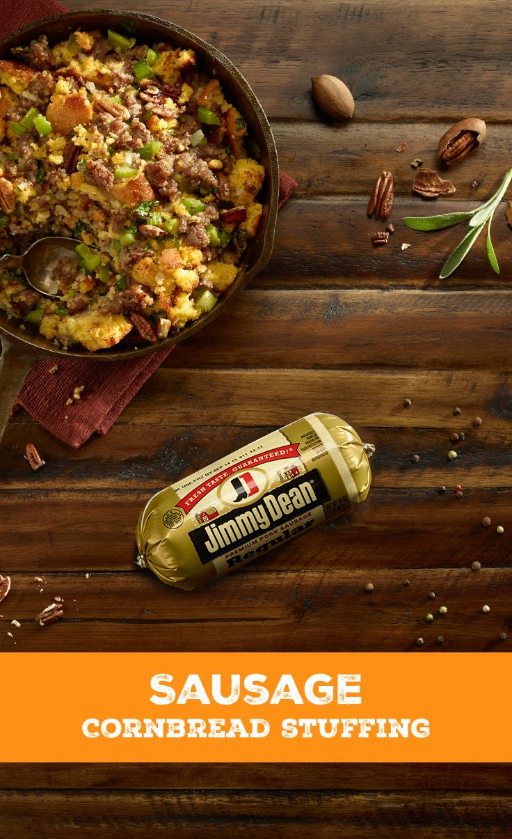 This sausage cornbread stuffing is perfect to gather the family around.    It takes a total of an hour and five minutes to prep, and when cooked, it'll yield about 8 servings.   To cook, you'll need 1 pkg. of Jimmy Dean Premium Pork Roll Sausage, 2 cups of chopped celery, 1 cup of a finely chopped onion, 4 cups of coarsely crumbled toasted cornbread, 1/4 cup of chopped fresh parsley, 1 teaspoon of poultry seasoning, 1 cup of chicken broth, 1 egg, and 8 hungry stomachs.