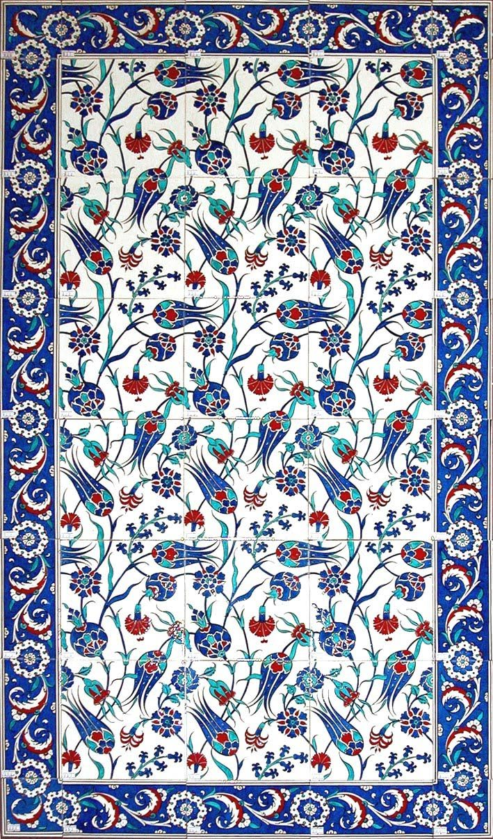 Ottoman Tile Art with Flower Patterns