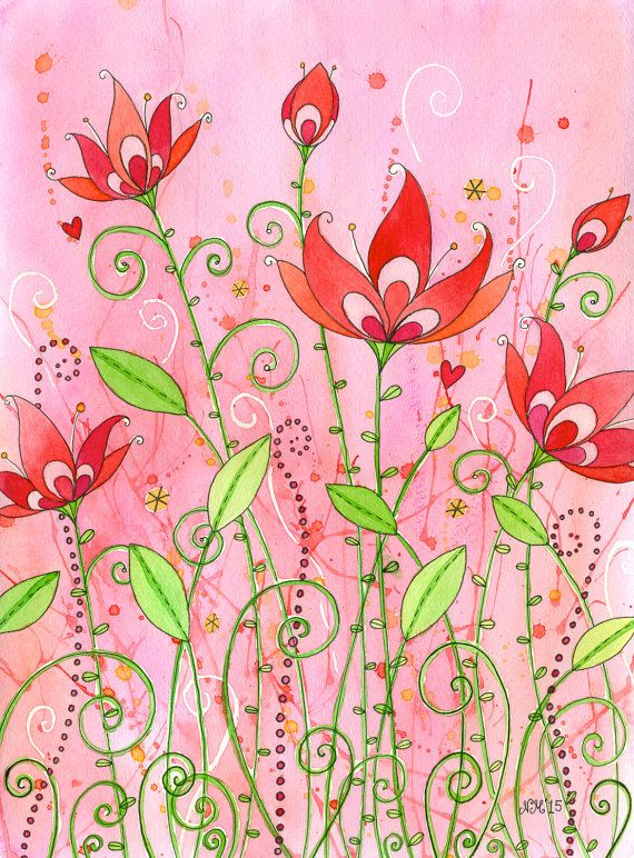 Ruby Red Original Watercolor Painting with a by mooncookiegallery