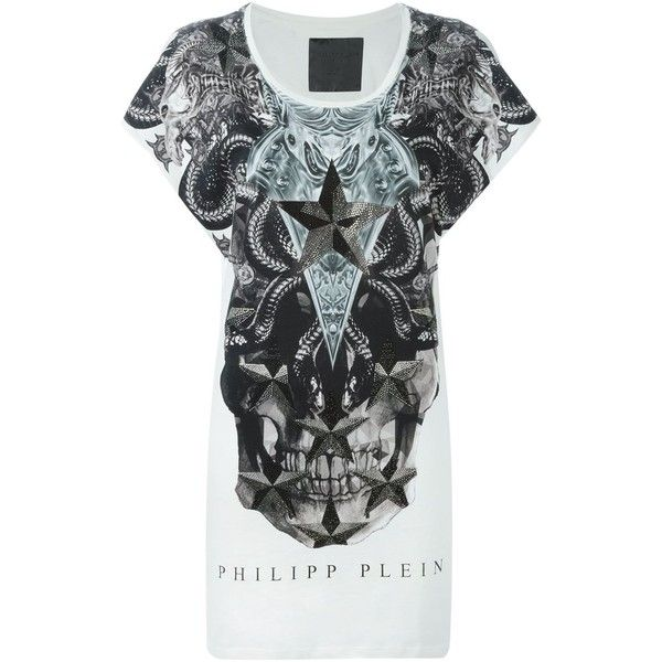 Philipp Plein 'Get On' T-shirt featuring polyvore, fashion, clothing, tops, t-shirts, white, white cotton t shirts, scoop neck t shirt, logo t shirts, scoop neck tee and cotton logo t shirts