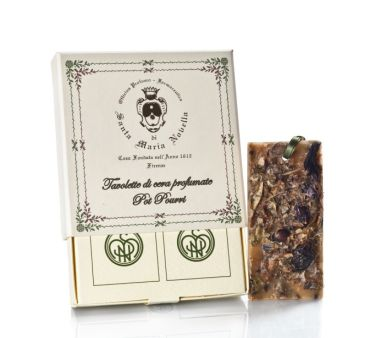 Santa Maria Novella POT POURRI Wax Tablets. 100% organic and natural essential oil is mixed with 100% beeswax from the fertile Tuscan fields and bee farms of Santa Maria Novella. Then, other natural elements are added to the wax while it is in its liquid state. Tablets are completely safe and organic and will not stain clothing or fabrics. Contains two 2x4 inch tablets per box with removable ribbons.