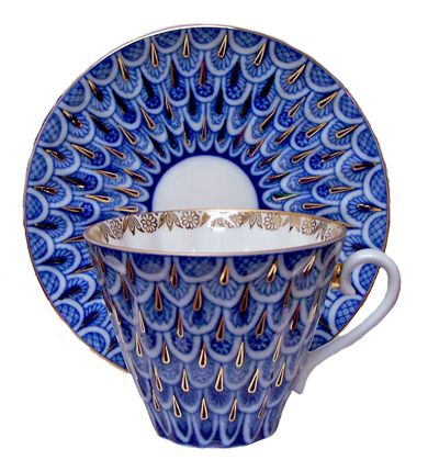 "Fine porcelain made by the Lomonosov company in St. Petersburg, Russia. Beautiful ""Peacock"" pattern with gold accents."