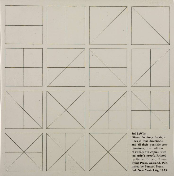 Straight Lines in Four Directions and All their Possible Combinations (Set of 15+1) Sol LeWitt, '[no title]' 1973