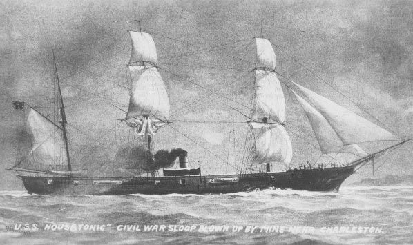 US Civil War Sloop USS Housatatonic, later to be sunk by the Confederates CSS Hunley