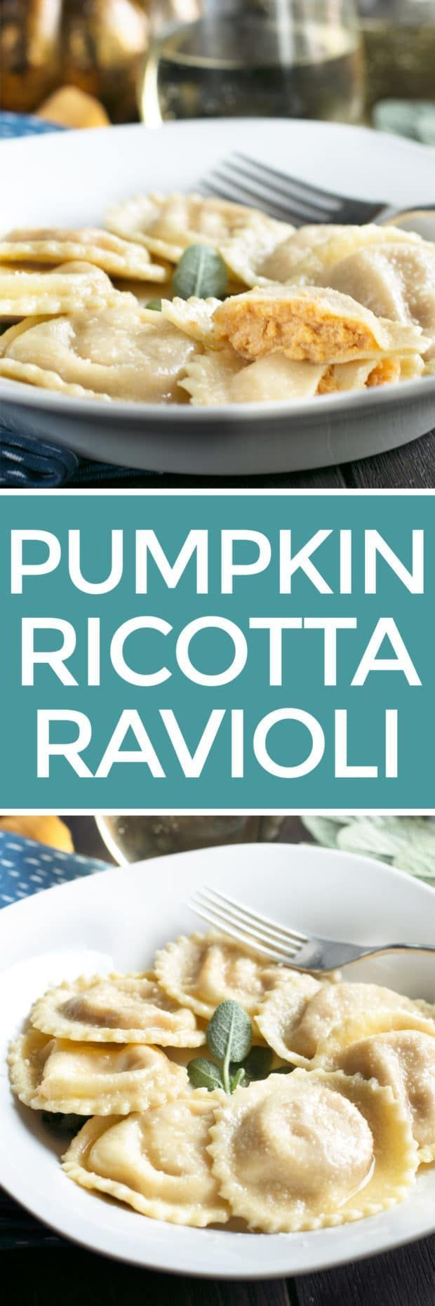 Pumpkin Ricotta Ravioli with Brown Butter Sage Sauce is an elegant meal that every fall dinner should feature. The rich pumpkin ricotta filling plays off the silky brown butter sage sauce, all with fresh homemade pasta! Don't let the homemade pasta intimidate you - it really is easier than you think to create. Pumpkin Ricotta Ravioli with Brown Butter Sage Sauce | cakenknife.com #pumpkin #pasta #recipe