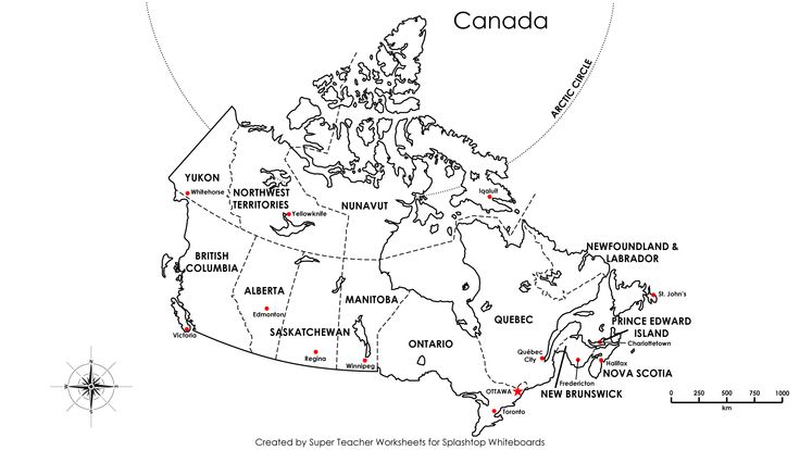 Canada Map with Capitals labeled.