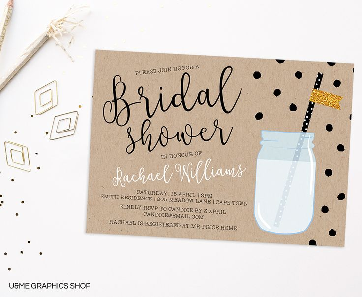 41 best bridal shower invitations images on pinterest kraft mason jar bridal shower invitation ume graphics stopboris Image collections