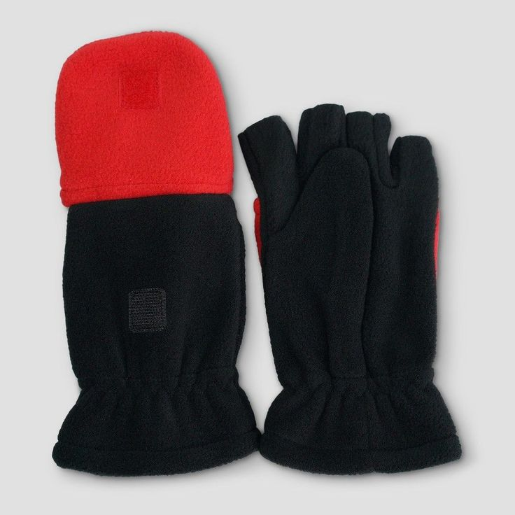 Boys' Fleece Convertible Gloves - Cat & Jack Black/Red 4-7