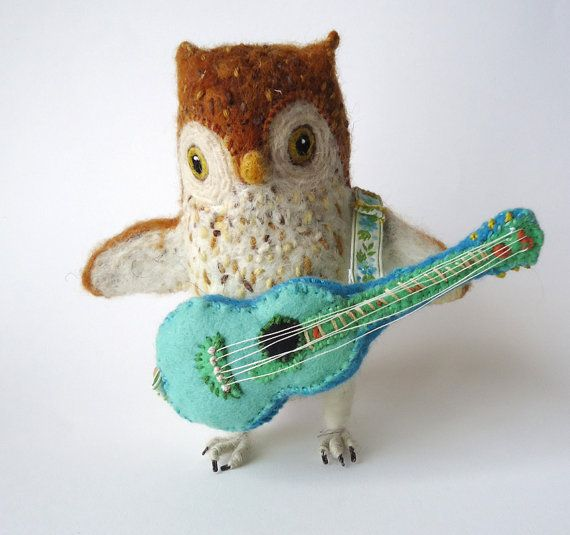 needle felted  owl guitarist by Miss Bumbles