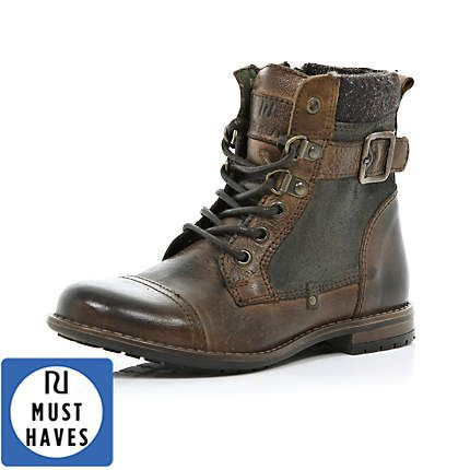 Brown Combat Boots Kids - Yu Boots