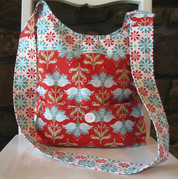 Handmade Fabric Purses | Handmade Fabric Bags Purses - Shoulder Bag - Riley Blake - Red and ...