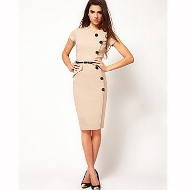 Women's Work Stretchy Short Sleeve Knee-length Dress ( Polyester )(947215) – USD $ 13.99