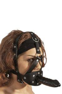 Gode en latex et baillon en PVC, avec harnais facial en cuir.