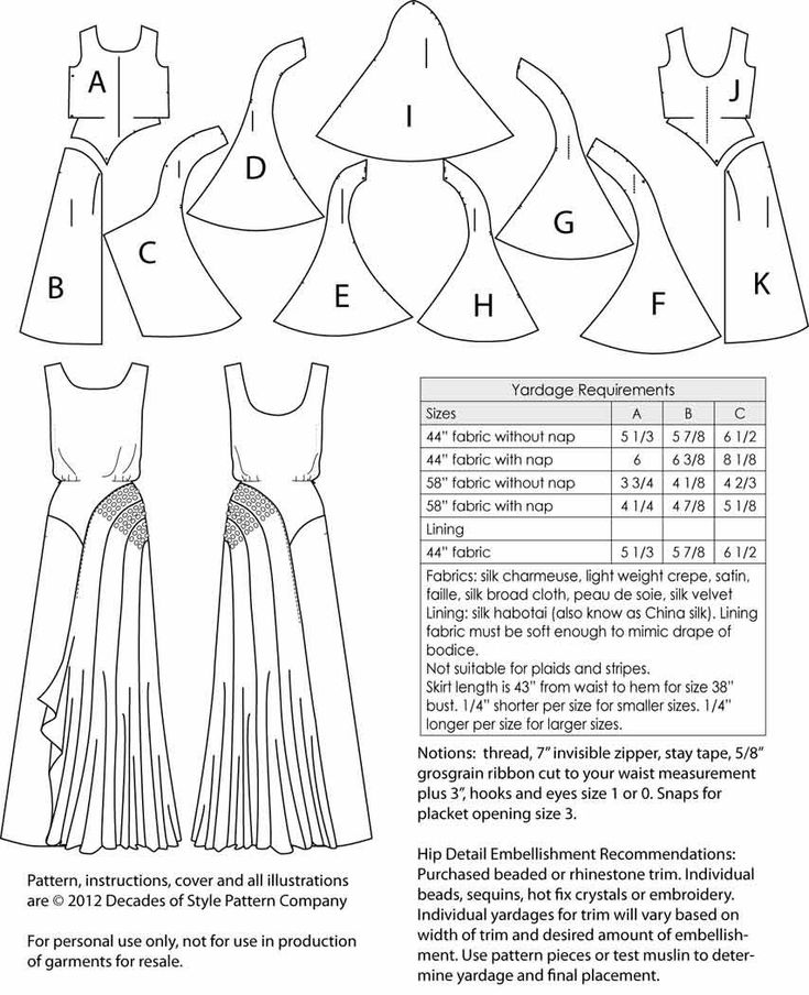"""Decades of Style """"1930s Leading Lady Gown"""" 44""""w fabric suggestions:  Silk Charmeuse, Lt. Wt. Crepe, Satin, Faille, Silk Broad cloth, Peau de Soie, Silk Velvet.  Lining:  Silk Habotai (aka China Silk), Lining fabric must be soft enough to mimic the drape of the bodice.  NOT suitable for plaids, stripes (only teeny patterns really). Skirt length is 43"""" from waist to hem for a sz. 38"""" bust.  1/4"""" shorter per ea. smaller sz. 1/4"""" longer per larger sz."""