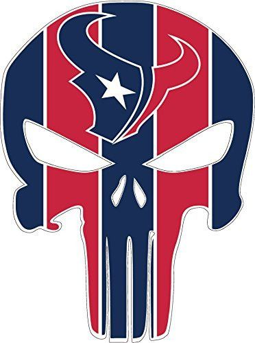 "Houston Texans Punisher Vinyl Decal Sticker Full Color (iPhone, Tablet, Laptop, etc.) 3"" tall"