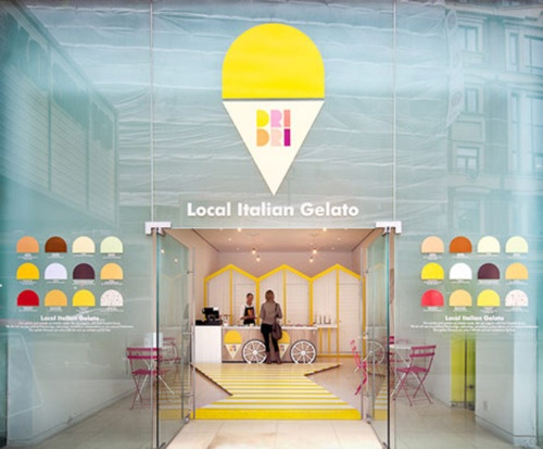 Temporary pop-up gelato shop designed by Elips Design.