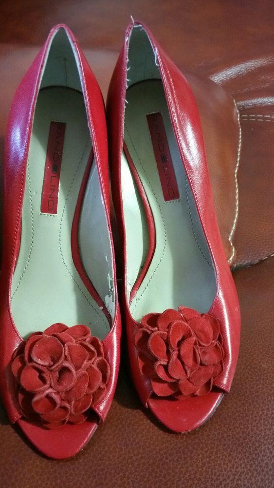 e81ea31426cc BANDOLINO Peep Toe Flower Red Pumps DBCOMIC Size 5 1 2 M  fashion  clothing   shoes  accessories  womensshoes  heels (ebay link)