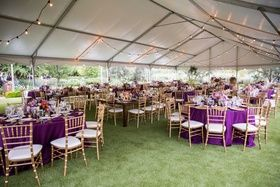 Purple and Gold Tablescapes at Tented Reception    Photography: Jennifer Bowen Photography   Read More:  http://www.insideweddings.com/weddings/charming-desert-wedding-featuring-bright-berry-tones-in-arizona/759/