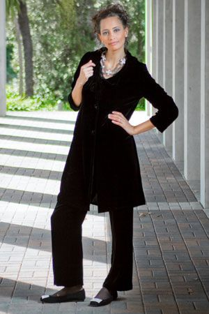 The Noir velvet coat is sassy. Wear it over a matching Plush velvet pant and team with exquisite Briarwood Lilly diamante shoes. For a European touch add the Stilen Cross necklace (or, for a change, double the necklace as a belt!)