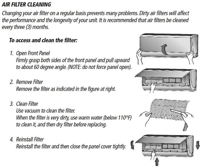 Gree Mini Split Air Conditioner Air Filter Cleaning Procedure