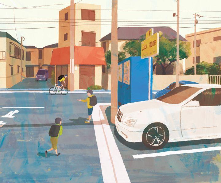 """帰り道 """"On the way home"""" #illustration #landscape"""