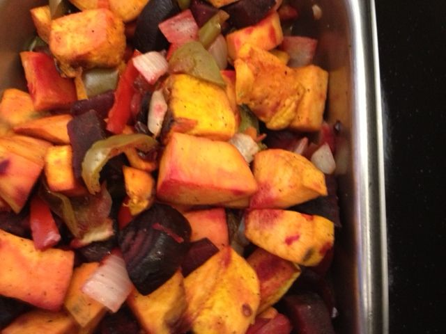 MULTI-COLORED VEGGIES will be hot, hot, hot in This is Underground Candy  (served in Stillwater Public Schools, OK) - a recipe for Roasted Root  Vegetables ...