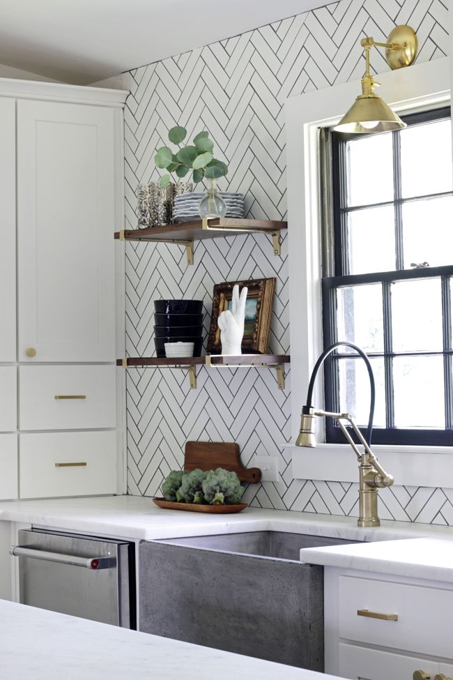 Love back splash, open shelves and concrete sink