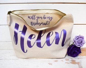 Regalo personalizado de la Dama de honor que el bolso - quieres ser mi Dama de honor, regalo de la Dama de honor. -Único regalo de novia bolsos de fiesta, bolsas de maquillaje