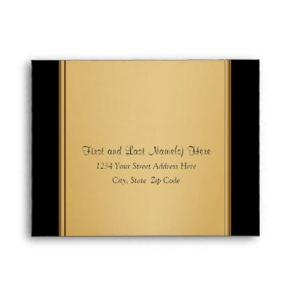 Black and Gold Envelopes in Many Sizes - birthday cards invitations party diy personalize customize celebration