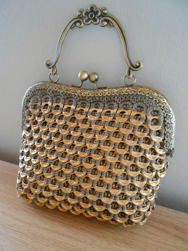 Gold shade crocheted soda tab bag