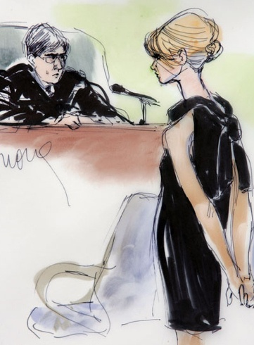 Celebrity-Courtroom-Sketch-Nicole-Richie -- This is another courtroom sketch of Nichole Richie.  She seems frail and the judge is very serious.  She is also dressed appropriately for the courtroom, unlike the notable badly dressed Lohan.