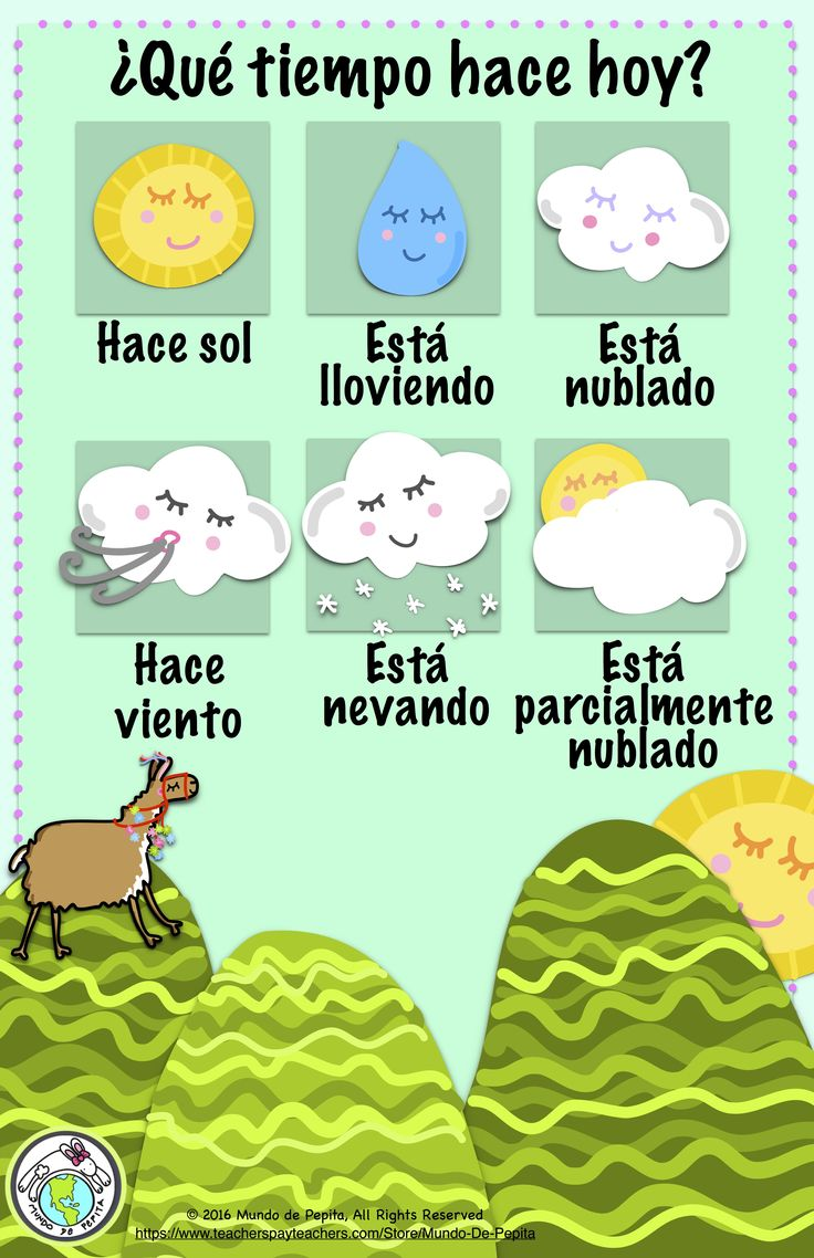 Spanish Weather Bulletin Board Kit- 11 x 17 interactive poster and 9 weather…