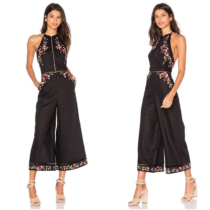High Quality Women Zimmermann Sexy Black Linen Sakura Embroidered Floral Backless Jumpsuit Overalls Luxury One Piece Rompers JM4
