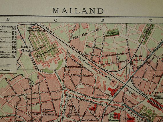"""MILAN old map of Milan Italy 1905 original antique city plan about Milano Mailand vintage detailed maps poster with year date 25x30c 10x12"""""""